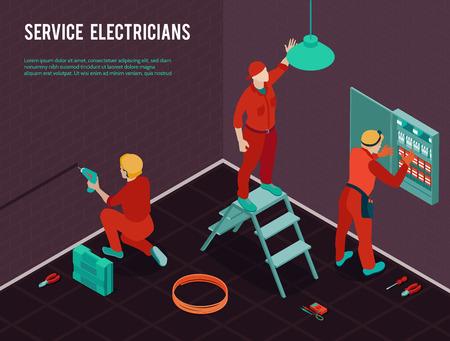 Elektriker Home Office Bau Renovierung Wartungsservice isometrische Zusammensetzung mit Arbeiter Team Installation Schalttafel Vektor Illustration Vektorgrafik