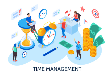 Time management design concept for planning and organization of working time without interruption and procrastination isometric vector illustration