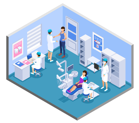Dental clinic practice office interior isometric composition with dentist medical assistants patient treatment equipment furniture vector illustration Standard-Bild - 123074151