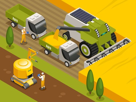 Agricultural robots isometric composition with automated remote controlled combine harvester threshers working in wheat field vector illustration Banco de Imagens - 121530388
