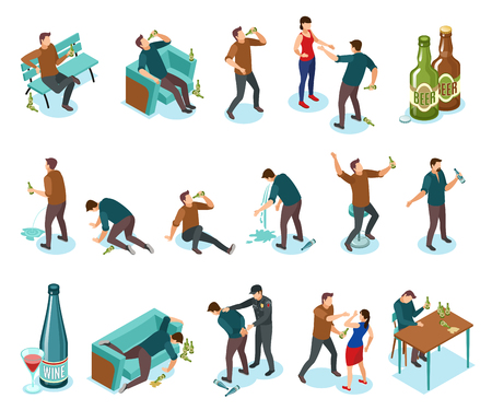 Alcoholism dependance features symptoms people isometric icons set with wine bottles drinking domestic violence nausea vector illustration Vectores