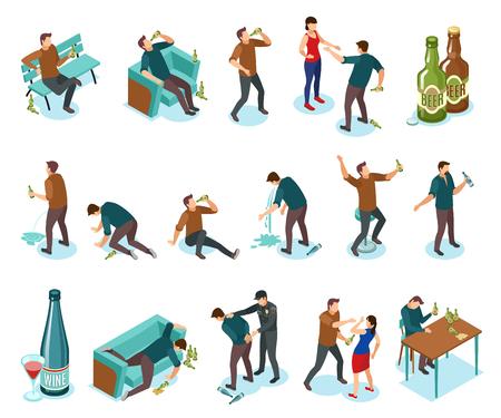 Uzależnienie od alkoholizmu zawiera objawy ludzie izometryczne ikony zestaw z butelkami wina picie przemocy domowej nudności ilustracja wektorowa