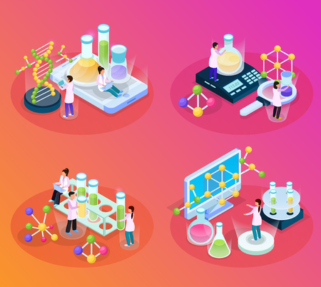 Science research isometric glow 4x1 set with compositions of chemical molecule images lab elements and people vector illustration