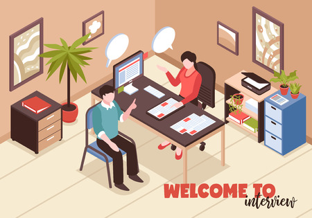 Isometric job search recruitment composition with text and office room interior with hr and job applicant vector illustration