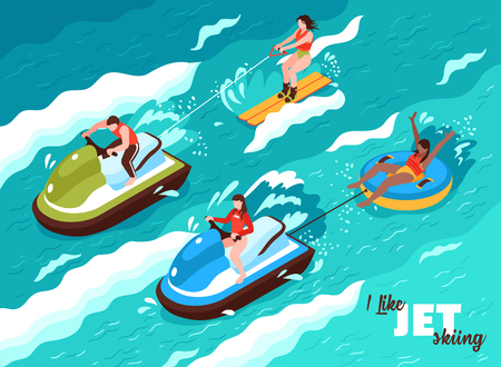 Summer water sport isometric poster on sea waves background with people involved in jet skiing vector illustration Ilustracja