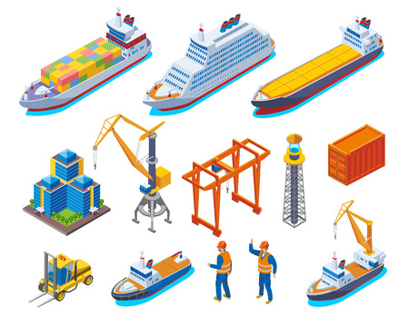Seaport colored isometric icon set with isolated boats cranes ships and workers vector illustration