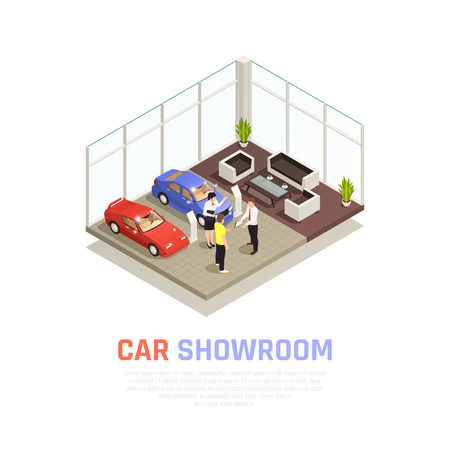 Car dealership concept with car purchase symbols isometric vector illustration
