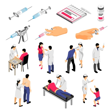 Human characters during vaccination and syringes with medical products set of isometric icons isolated vector illustration