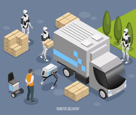 Composición isométrica del sistema de entrega robótica con lindo humanoides totalmente automatizados cargando y descargando ilustración de vector de camión no tripulado Ilustración de vector
