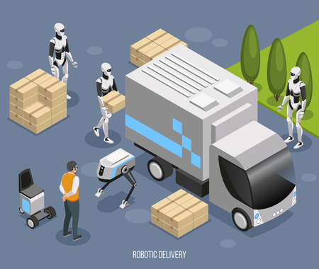 Robotic delivery system isometric composition with cute fully automated humanoids loading and unloading unmanned truck vector illustration