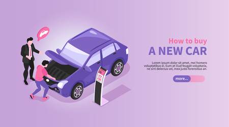 Isometric car showroom horizontal banner with automobile store manager and buyer characters with car and text vector illustration
