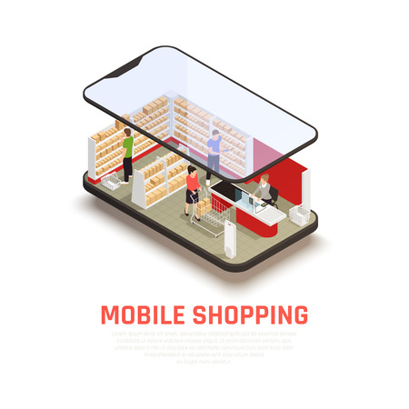 Mobile shopping concept with ecommerce symbols isometric vector illustration