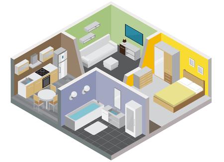 Concepto de diseño de apartamento de dos habitaciones con cocina, baño, dormitorio y sala de estar, ilustración vectorial isométrica