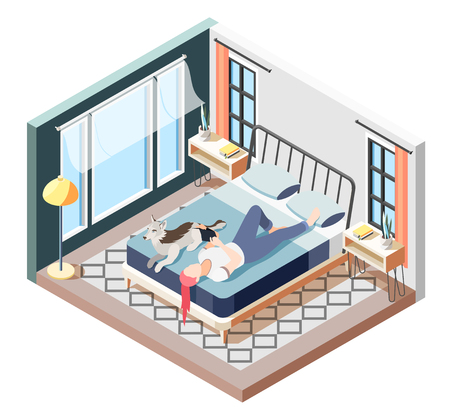 Ordinary life of man and his dog isometric composition recreation time of girl with dog vector illustration Reklamní fotografie - 122979720