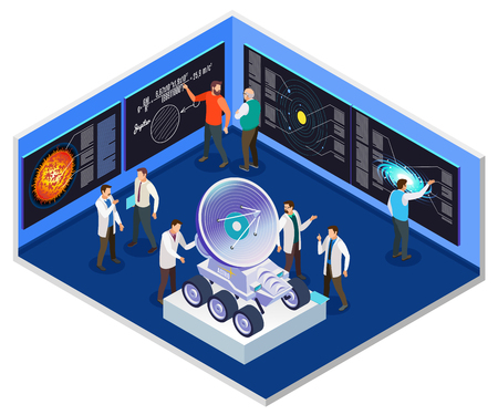 Astrophysics research center interior  isometric composition with scientists preparing for mobile radio telescope space mission vector illustration
