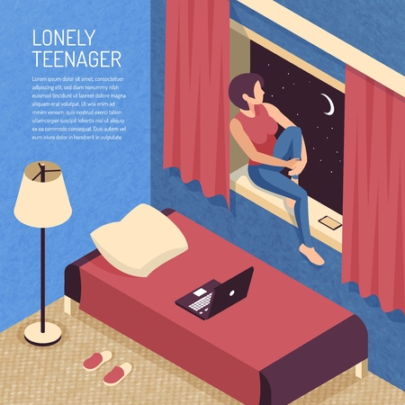 Isometric teenager background composition with view of domestic bedroom interior and teenage girl sitting on sill vector illustration Illustration