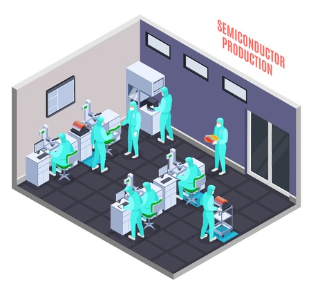 Semicondoctor production concept with technology and science symbols isometric vector illustration
