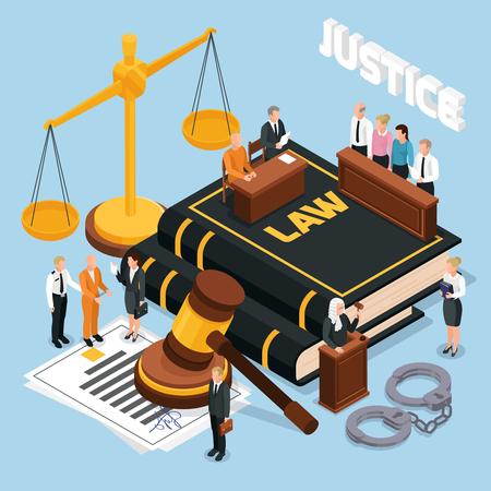 Jury de justice procès devant le tribunal procédure judiciaire composition isométrique avec équilibre marteau défendeur juge police illustration vectorielle Vecteurs