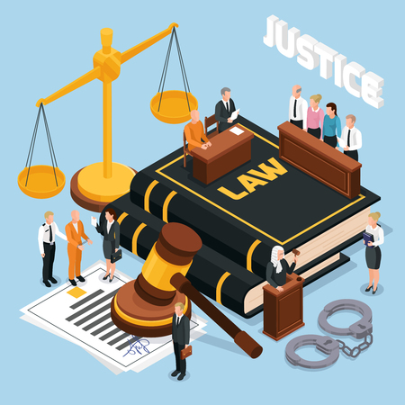 Law justice jury trial legal court proceedings isometric composition with gavel balance defendant judge police vector illustration