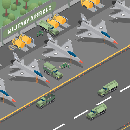 Military airfield isometric composition representing landing cargo airplanes fuel tanks trucks and soldier vector illustration