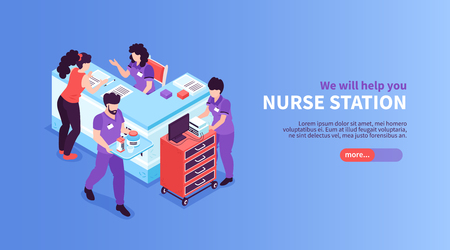 Isometric hospital horizontal banner with editable text slider button and view of reception area with stands vector illustration Фото со стока - 122979724