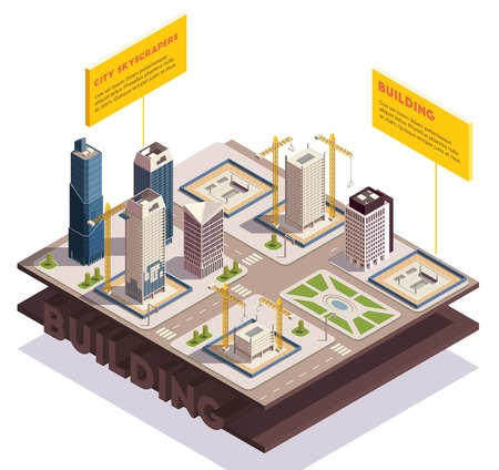 City skyscrapers isometric composition with images of sliced ground layers with modern tall buildings under construction vector illustration Illustration