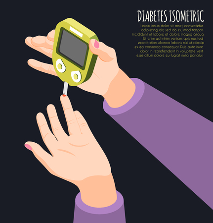 Diabetes diagnostics isometric background with human hand holding meter measures blood sugar level vector illustration