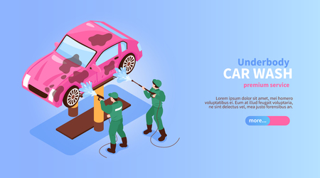 Isometric car washing services horizontal banner with characters of workers spraying car slider button and text vector illustration