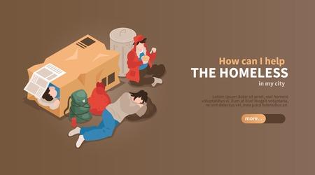 Banner horizontal isométrico de personas sin hogar con vista de personas entre cajas de cartón y desechos con ilustración de vector de texto