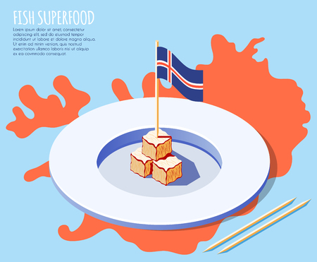 Fish superfood isometric background with plate of dried shark meat on iceland map and national flag vector illustration