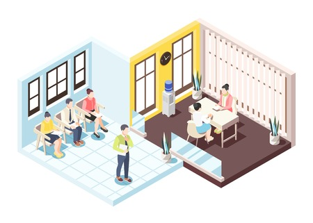 Recruitment isometric composition with people sitting on chairs awaiting interview for employment vector illustration
