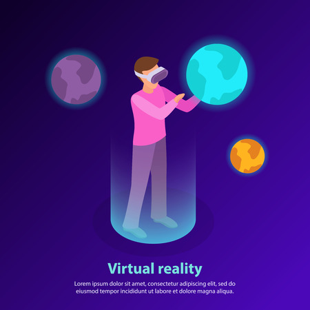 Isometric background with man wearing augmented reality glasses and touching planet 3d vector illustration