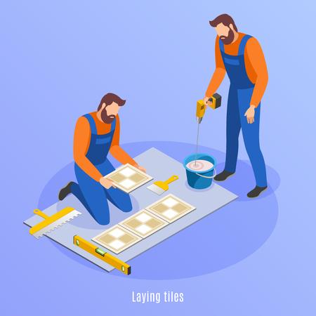 Isometrischer Hintergrund der Hausreparatur mit zwei Männern in Uniform, die sich für die Verlegung von Fliesenvektorillustration vorbereiten