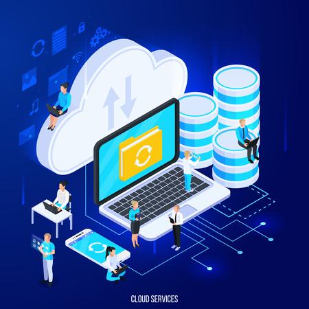 Composizione isometrica di servizi cloud con pittogrammi di sagoma piatta e grandi icone di archiviazione cloud con illustrazione vettoriale di persone Vettoriali