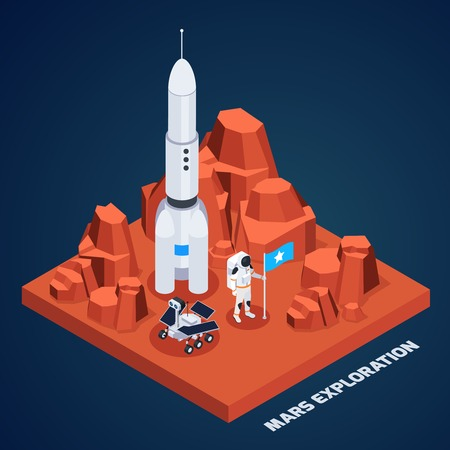 Space exploration isometric composition with piece of martian terrain with rocket astronaut with text vector illustration