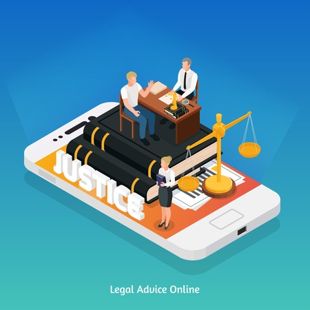 Law justice icons isometric composition concept with smartphone and justice symbols on top of its screen vector illustration
