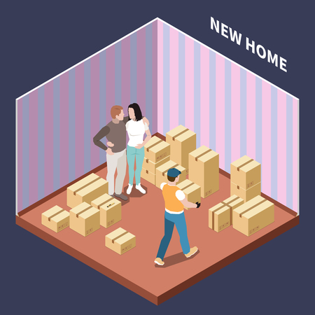 Isometric composition with couple moving to new house with cardboard boxes 3d vector illustration Illustration