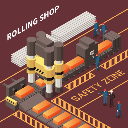 Isometric composition with workers in rolling shop in metal industry factory 3d vector illustration Illustration