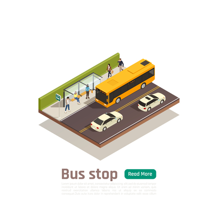 Isometric colored city composition with bus stop headline people sit on the bench vector illustration