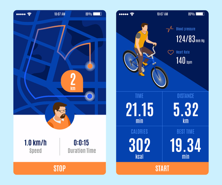 Two variants of bicycle ride mobile app design with start stop buttons and duration time distance calories speed parameters isometric vector illustration Reklamní fotografie - 122979750