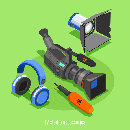 TV studio accessories isometric background with professional camera headphones microphone lighting device icons vector illustration