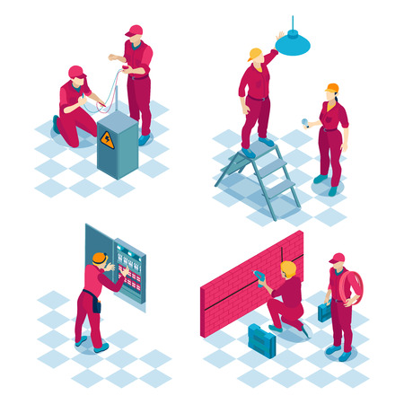 Qualified electricians job concept 4 isometric compositions with construction wiring installation repair team red uniforms vector illustration