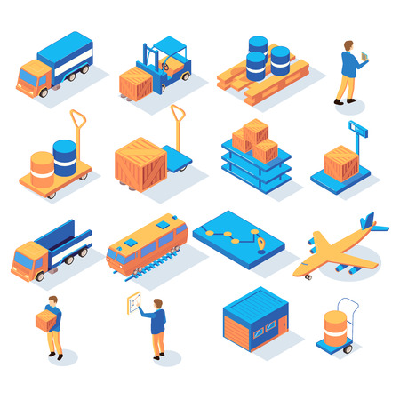 Set of isometric logistics delivery icons with people and images of transportation vehicles and stock parcels vector illustration Ilustrace