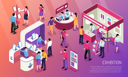 Exhibition horizontal illustration with visitors  looking at advertised product and consultant characters at expo stands isometric vector illustration 스톡 콘텐츠 - 121530647
