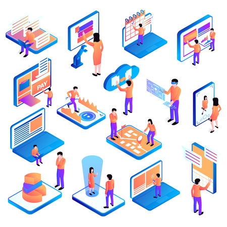 Set of isolated isometric people interfaces with icons of computer equipment and pictograms with human characters vector illustration