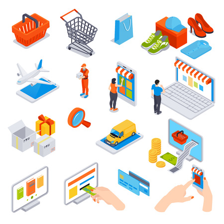 Online shopping isometric set of credit cards gadgets using for order and payment delivery transportation vector illustration