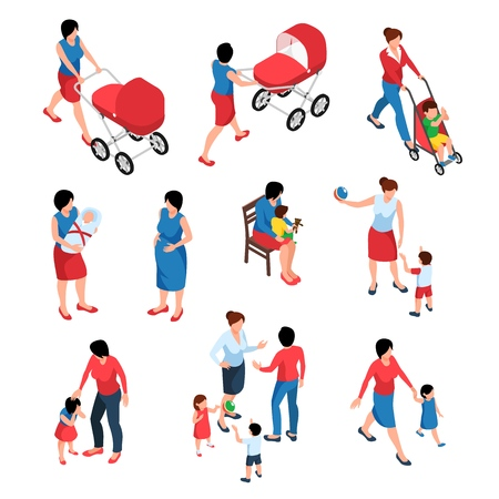 Motherhood  isometric set of young women babysitting their little children and newborn isolated vector illustration