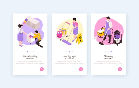 Set of three isolated isometric cleaning service vertical banners with clickable buttons and editable text description vector illustration