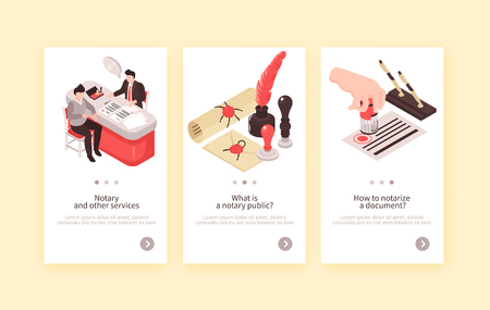 Isometric notary services vertical banners collection with three compositions of human characters vintage stamps and text vector illustration