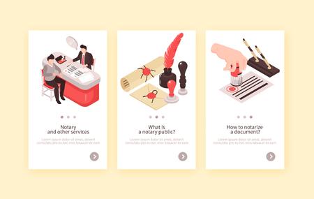 Isometrische Notardienste vertikale Banner-Sammlung mit drei Kompositionen von menschlichen Charakteren Vintage-Briefmarken und Textvektorillustration Vektorgrafik